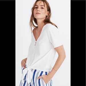 Madewell Agency tie front button white top small